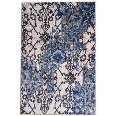 Rosie Transitional Ikat Distressed Ivory/Blue Area Rug