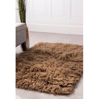 Paulornette Flokati Solid Handmade Shag Wool Brown Area Rug