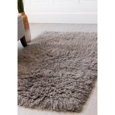 Paulornette Flokati Solid Handmade Shag Wool Gray Area Rug