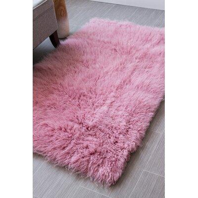 Paulornette Flokati Solid Soft Handmade Shag Wool Pink Area Rug