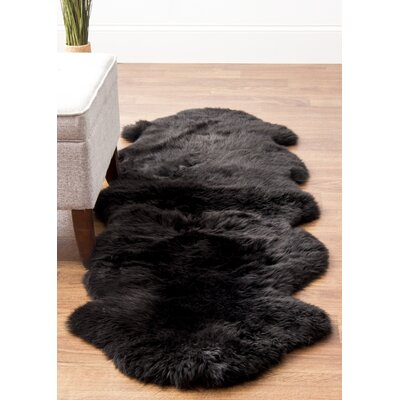 Moquin Genuine Fur Double Pelt Handmade Shag Sheepskin Black Area Rug