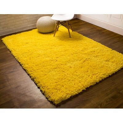 Cloud Microfiber Ultra Soft Shag Light Yellow Area Rug Rug Size: 5 x 7