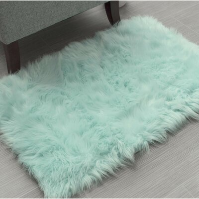 Charlotte Handmade Shag Faux Sheepskin Mint Area Rug Rug Size: Rectangle 5 x 7