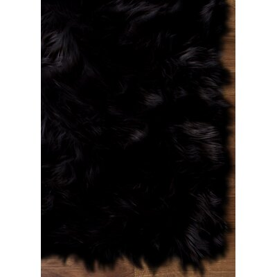 Charlotte Hand-Woven Faux Sheepskin Black Area Rug Rug Size: 5 x 7