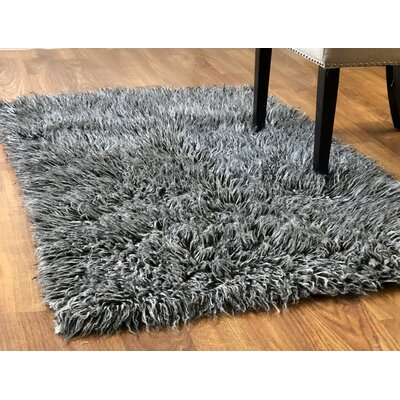 Talan Flokati Solid Light Handmade Shag Wool Black/White Area Rug Rug Size: 33 x 5