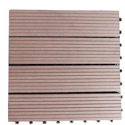 Composite 12 x 12 Interlocking Deck Tiles in Walnut Brown