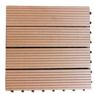 Composite 12 x 12 Interlocking Deck Tiles in Redwood Brown