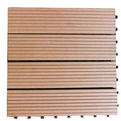 Composite 12 x 12 Interlocking Deck Tiles in Redwood Brown