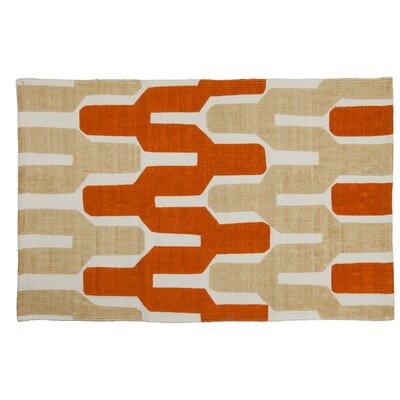 Riverdale Handmade Beige/Coral Area Rug Rug Size: 26 x 42