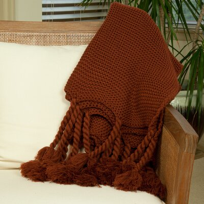 Rope Knit Throw Color: Red