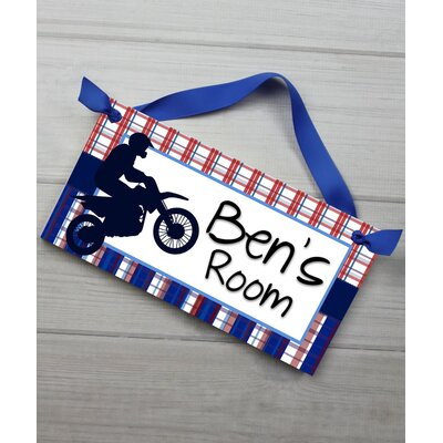 Dirt Bike Plaid Boys Personalized Door Sign DS0433