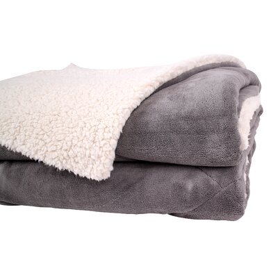 Thermal Retention Sherpa Blanket Size: Full/Queen, Color: Gray