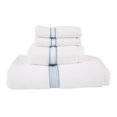Luxury Quick-Dry Dobby Performance Core 4 Piece Towel Set Color: Slate Blue