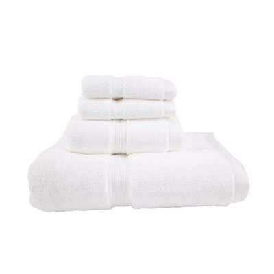 Luxury Quick-Dry Dobby Performance Core 4 Piece Towel Set Color: White