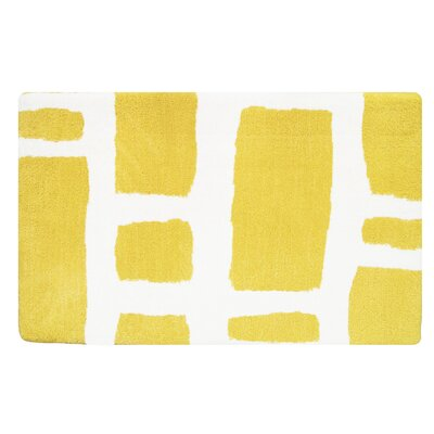 Modern Memory Foam Bath Rug Color: Lemon Yellow/White