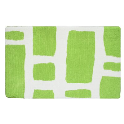 Modern Memory Foam Bath Rug Color: Spring Green/White