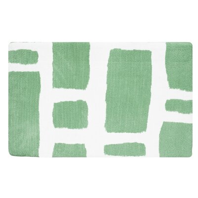 Modern Memory Foam Bath Rug Color: Jade Green/White