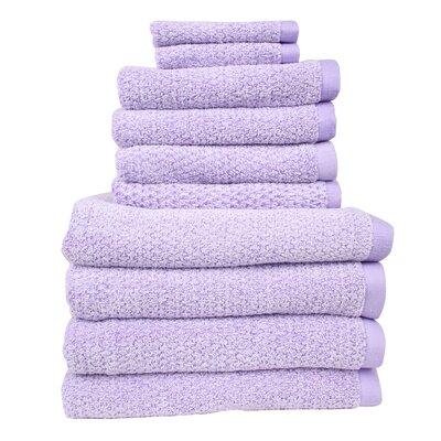 Diamond Jacquard Performance Core 10 Piece Towel Set Color: Lavender