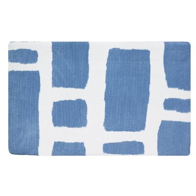 Modern Memory Foam Bath Rug Color: Sky Blue/White