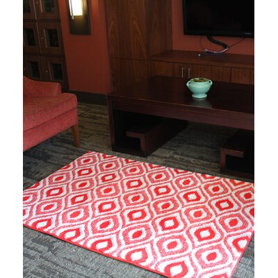 Red/White Ikat Large Memory Foam Bath Rug