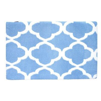 Quatrefoil Memory Foam Bath Rug Color: Sky Blue/White