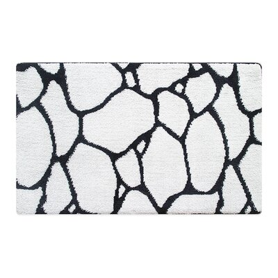 Stones Memory Foam Bath Rug Color: Black/White