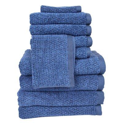 Diamond Jacquard Performance Core 10 Piece Towel Set Color: Navy Blue