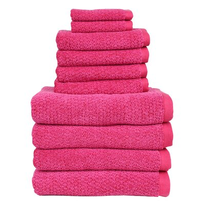Diamond Jacquard Performance Core 10 Piece Towel Set Color: Magenta