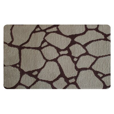 Stones Memory Foam Bath Rug Color: Brown/Cream