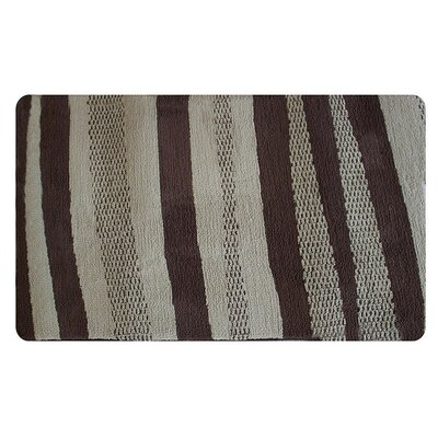 Brown Pattern Stripe Memory Foam Bath Rug