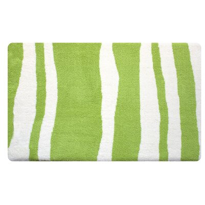 Wavy Memory Foam Bath Rug Color: Spring Green/White