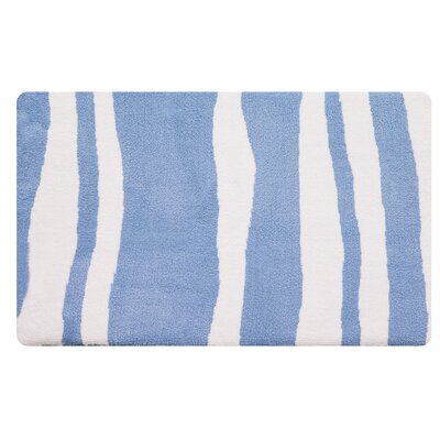 Wavy Memory Foam Bath Rug Color: Sky Blue/White
