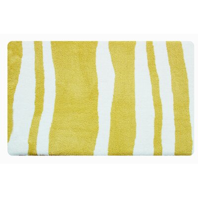 Wavy Memory Foam Bath Rug Color: Lemon Yellow/White