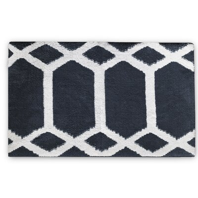 Trellis Memory Foam Bath Rug Color: Turbulence Gray/White