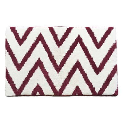 Red/White Chevron Memory Foam Bath Rug