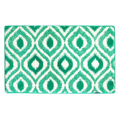 Emerald/White Ikat Memory Foam Bath Rug