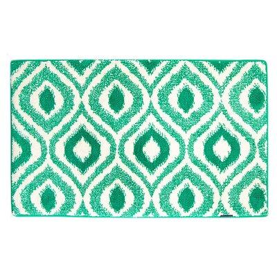 Emerald/White Ikat Memory Foam Bath Rug