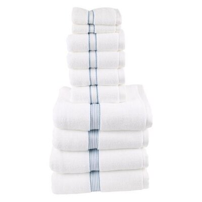 Classic Dobby 10 Piece Towel Set Color: Slate Blue