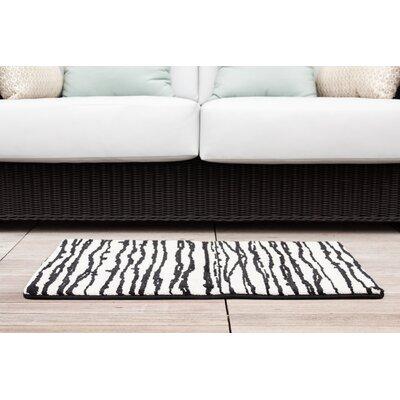 Black/White Modern Stripe Memory Foam Bath Rug