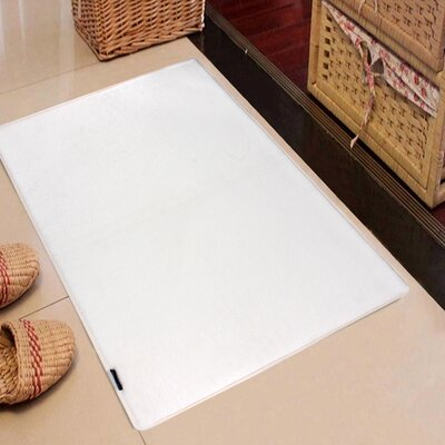 Rectangle Solid Memory Foam Kitchen Mat Color: White