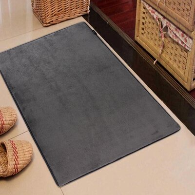 Rectangle Solid Memory Foam Kitchen Mat Color: Gray Flannel