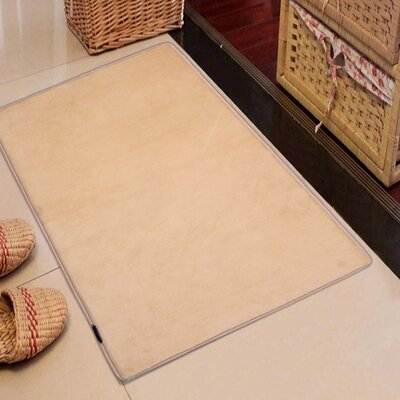Rectangle Solid Memory Foam Kitchen Mat Color: Beige