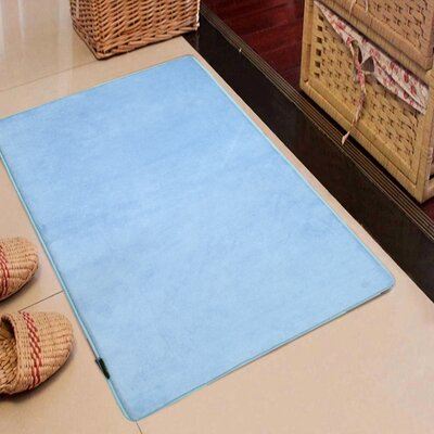 Rectangle Solid Memory Foam Kitchen Mat Color: Sky Blue