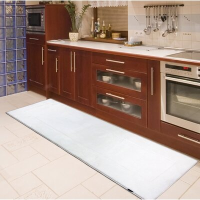 Rectangle Memory Foam Kitchen Mat Color: White