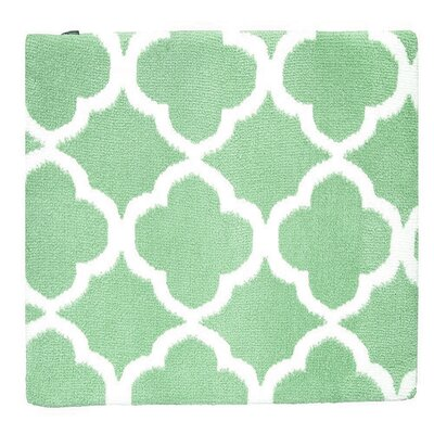 Quatrefoil Memory Foam Bath Rug Color: Jade Green/White
