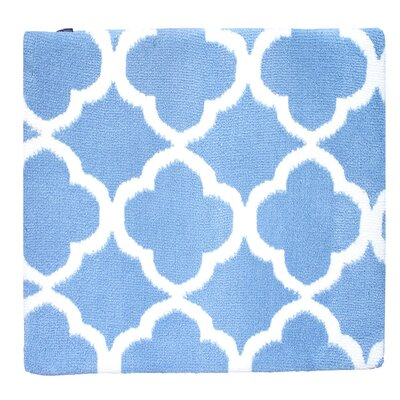 Quatrefoil Memory Foam Bath Rug Color: Sky Blue/White