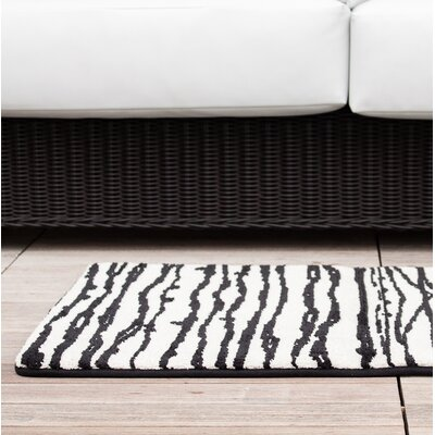 Black/White Modern Stripe Memory Foam Bath Rug