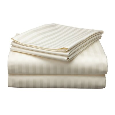 Milne 800 Thread Count Egyptian Quality Cotton Stripe Pillow Cases Color: Ivory
