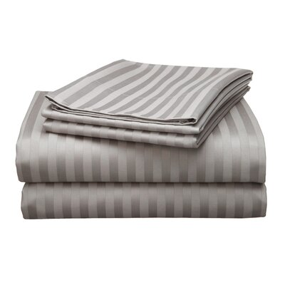 Milne 800 Thread Count Egyptian Quality Cotton Stripe Pillow Cases Color: Pewter