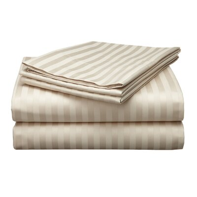 Milne 800 Thread Count Egyptian Quality Cotton Stripe Pillow Cases Color: Stone